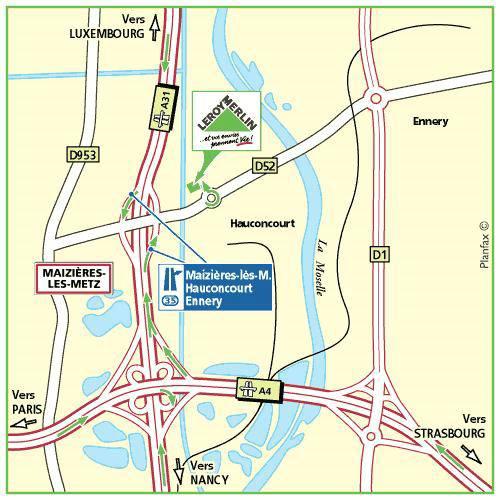Plan d'accès au magasin Leroy Merlin de Nancy sud (houdemont)
