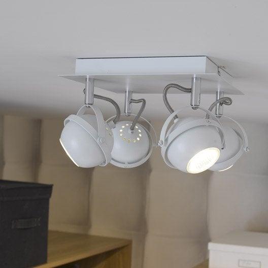 plafonnier 4 spots halog ne 4 x gu10 blanc sphera. Black Bedroom Furniture Sets. Home Design Ideas