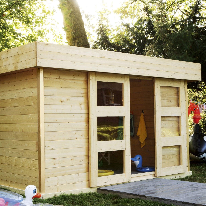 Abri de jardin bois stockholm 2 m mm leroy for Legislation abri de jardin