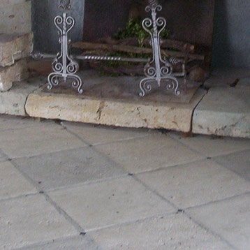 Dalle pierre reconstituée Médiévale, ton pierre, L.50 x l.50 cm x Ep.25 mm