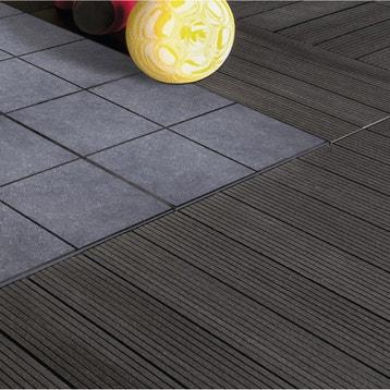lot de 4 dalles clipsables composite gris anthracite l - Dalle Terrasse Composite 50x50