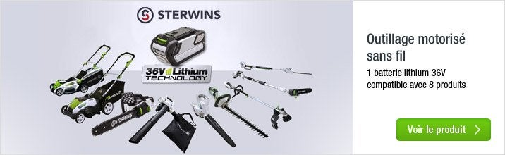 Platerforme outils motorisés STERWINS 36V : 1 batterie pour 7 outils