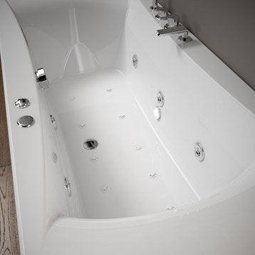 Baignoire balnéo avec robinetterie rectangulaire L.180x l.80 cm, THALA Confort