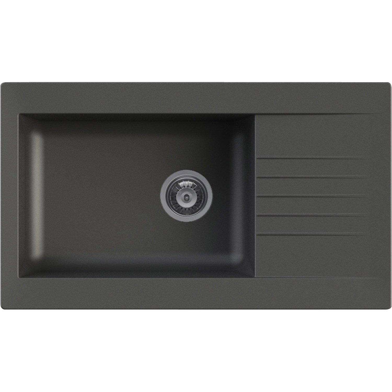 evier encastrer r sine noir karta 1 grand bac avec. Black Bedroom Furniture Sets. Home Design Ideas