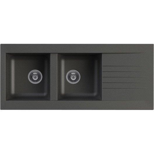 evier encastrer r sine noir karta 2 bacs avec gouttoir leroy merlin. Black Bedroom Furniture Sets. Home Design Ideas