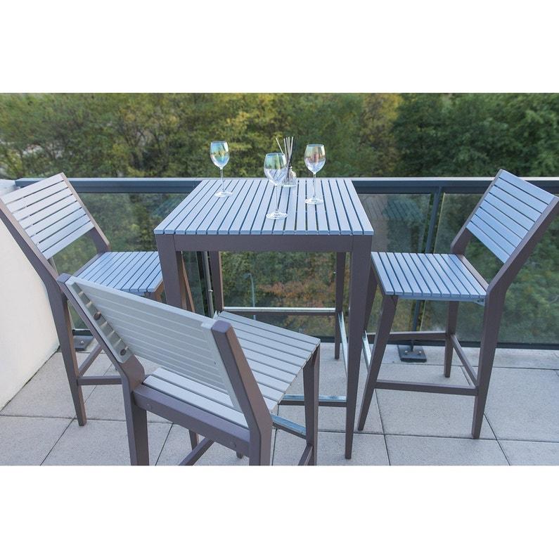 Chaise haute de jardin en bois Portofino gris | Leroy Merlin