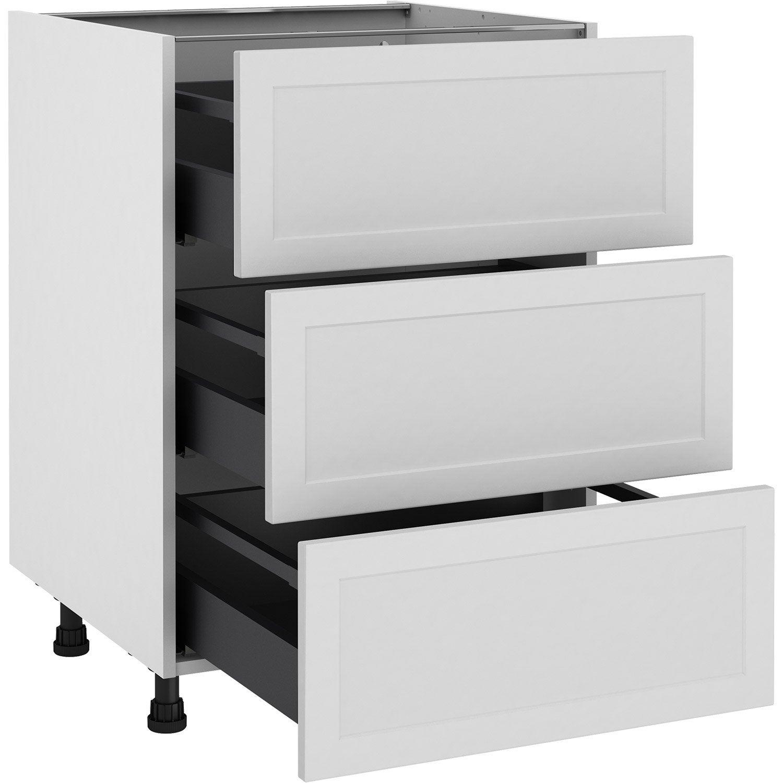 Meuble bas de cuisine Newport blanc, 3 tiroirs H.77 l.60 cm x p.58 cm