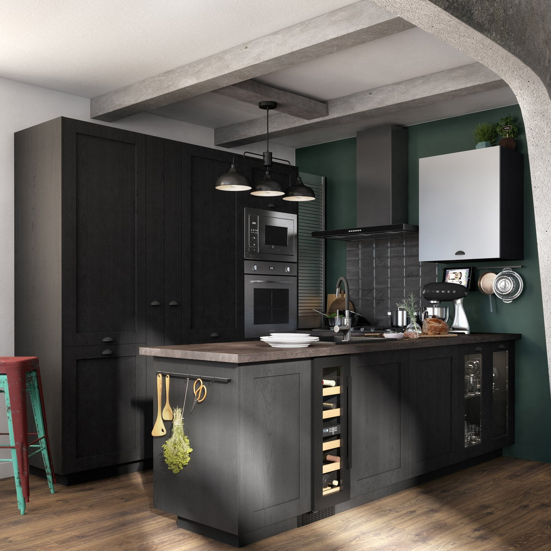 Porte de cuisine vitr e chicago noir delinia id x cm leroy merlin - Porte de cuisine ...