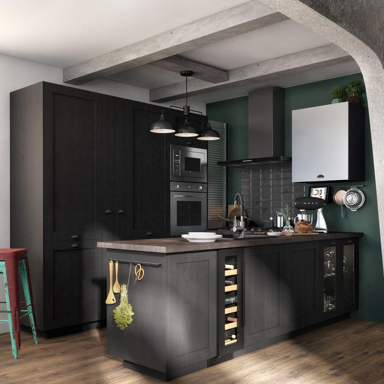 Porte de cuisine vitrée Chicago noir mat, DELINIA ID H.11.11 x l.11.11 cm