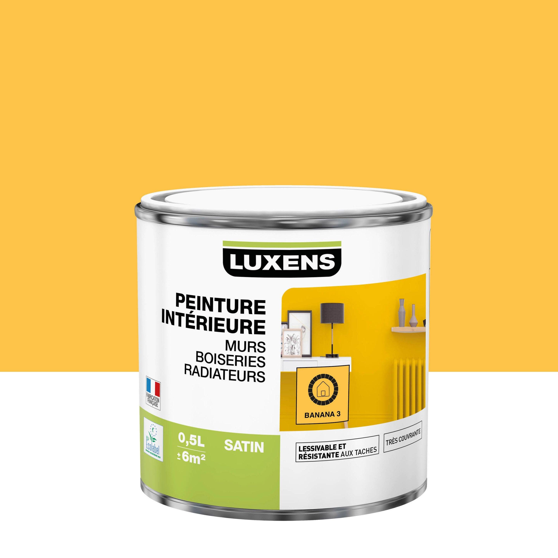 Peinture, mur, boiserie, radiateur, Multisupports LUXENS, banana 3, satin, 0.5 l