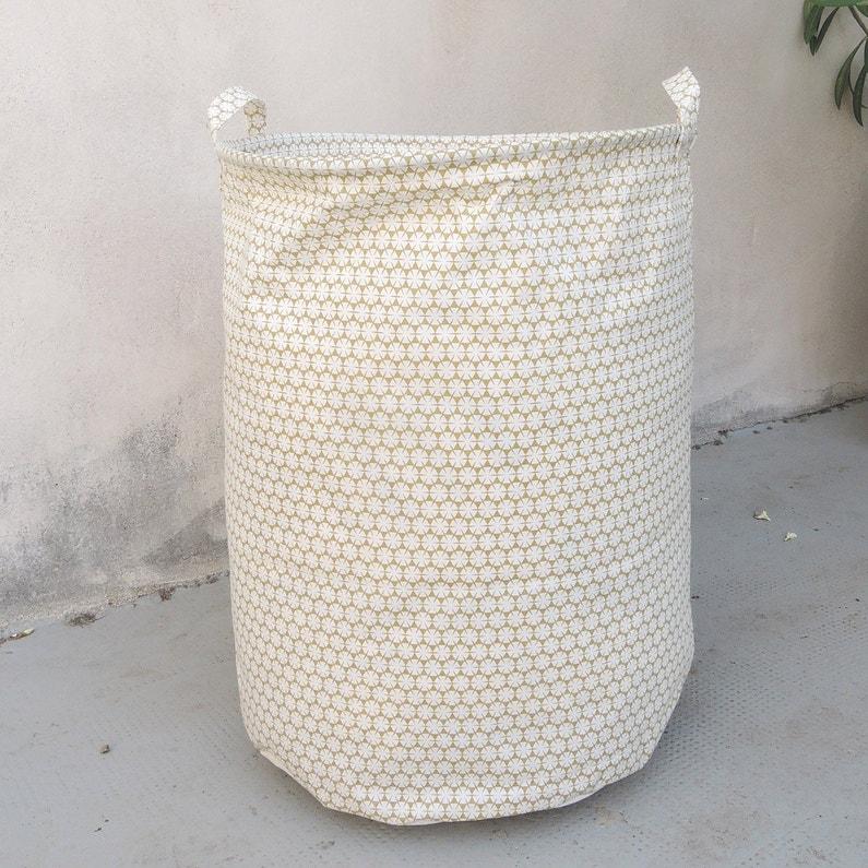 Panier à Linge Textile Blanc Et Jaune L50 X H40 X P40 Cm Arne Lykke