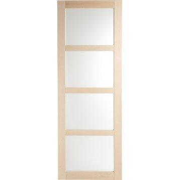 Porte coulissante hêtre plaqué marron Nova ARTENS, 204 x 73 cm
