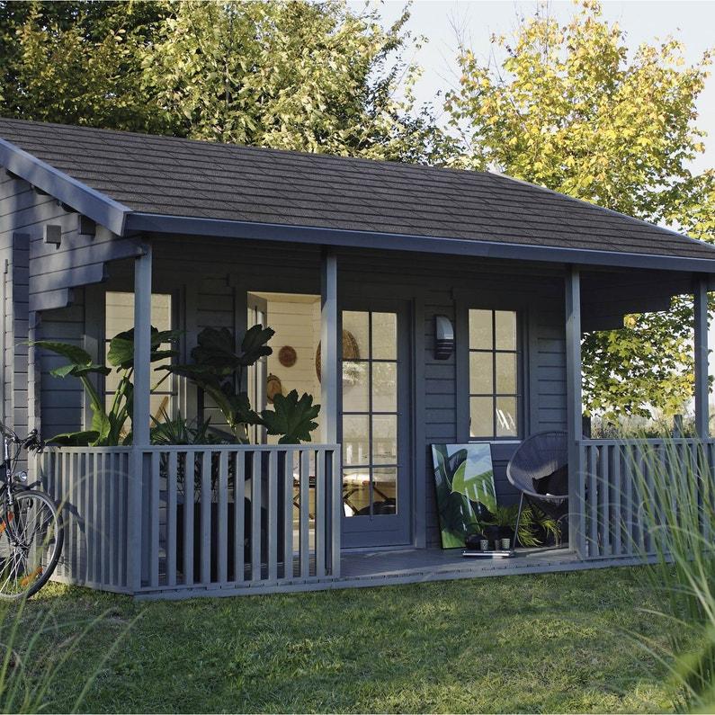 Abri de jardin bois Samara Ep.44 mm, 17.47 m² | Leroy Merlin