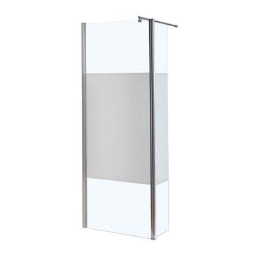 Paroi de douche à l'italienne, l.90 + 30 cm verre sérigraphié 6 mm Open 2 6mm