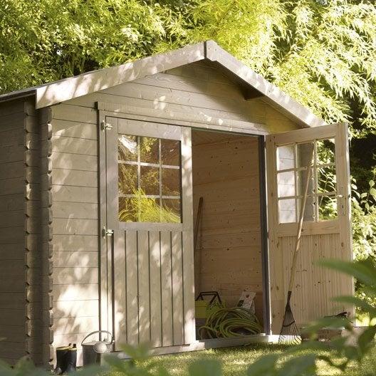 abri de jardin bois flore, 5.39 m² ep.28 mm   leroy merlin