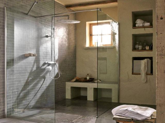 Paroi de douche l 39 italienne cm verre s rigraphi - Douche italienne avec assise ...