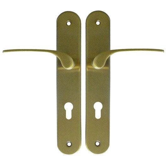 lot 2 poign es de porte d 39 entr e alice trou de cylindre acier laitonn 195 mm leroy merlin. Black Bedroom Furniture Sets. Home Design Ideas