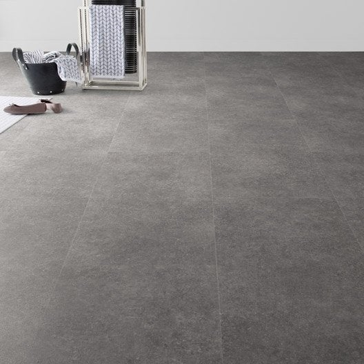 Dalle pvc clipsable gris m tal effet b ton clic moods for Pose de carrelage sur dalle beton