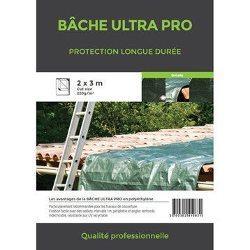 Bâche de protection en pe rectangulaire 200 x 300 cm vert