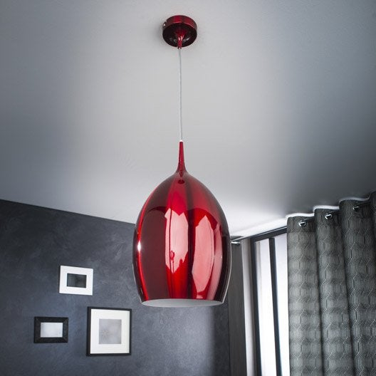 suspension contemporain tazir m tal rouge 1 x 60 w lucide leroy merlin. Black Bedroom Furniture Sets. Home Design Ideas