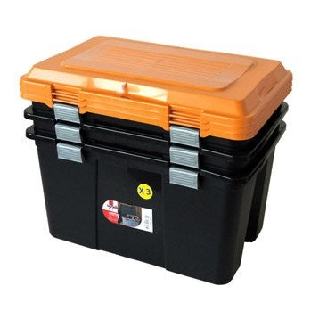 Lot de malles Packer plastique , l.59 x P.39 x H.35.5 cm