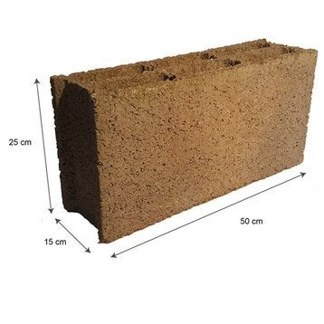 Parpaing creux 15x25x50 cm