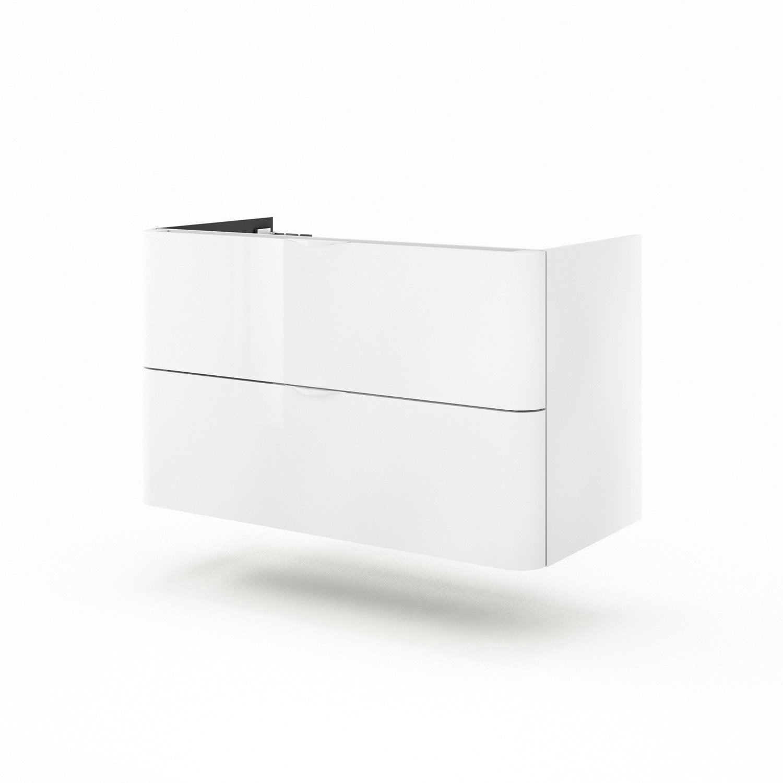 Meuble Sous Vasque L120 X H64 X P52 Cm Blanc Neo Shine