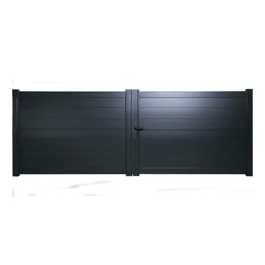 portail battant aluminium lao gris anthracite naterial cm x cm leroy merlin. Black Bedroom Furniture Sets. Home Design Ideas