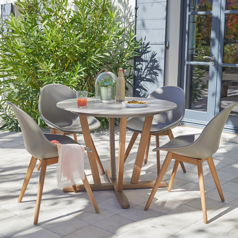 salon de jardin st tropez taupe 4 personnes leroy merlin. Black Bedroom Furniture Sets. Home Design Ideas
