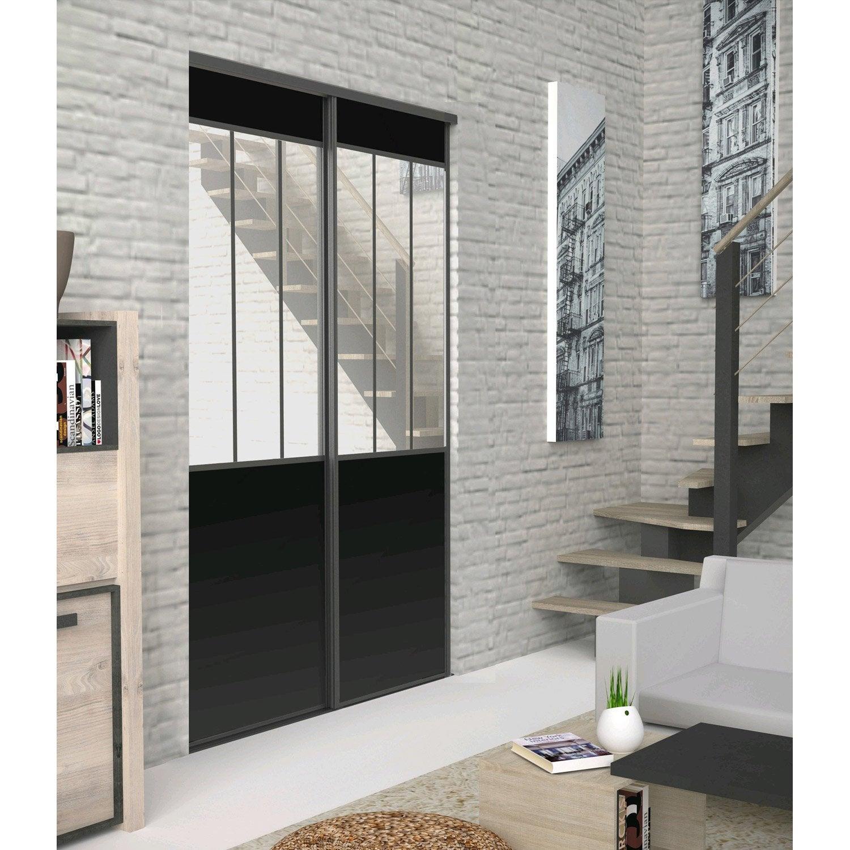lot de 2 portes de placard rail coulissante noir ekipa l. Black Bedroom Furniture Sets. Home Design Ideas