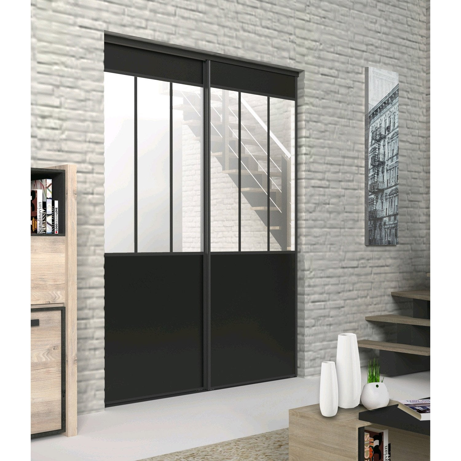lot de 2 portes de placard rail coulissante noir ekipa x cm leroy merlin. Black Bedroom Furniture Sets. Home Design Ideas