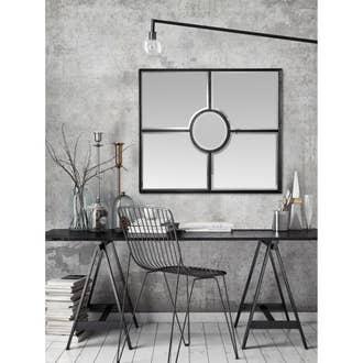 58610bbad34087 Miroir carré Fenêtre marcel noir, l.80 x H.80 cm | Leroy Merlin