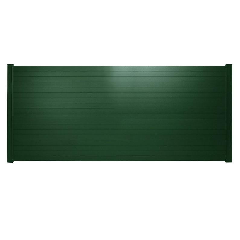 Portail coulissant aluminium Concarneau vert NATERIAL, l.362x H.153 cm