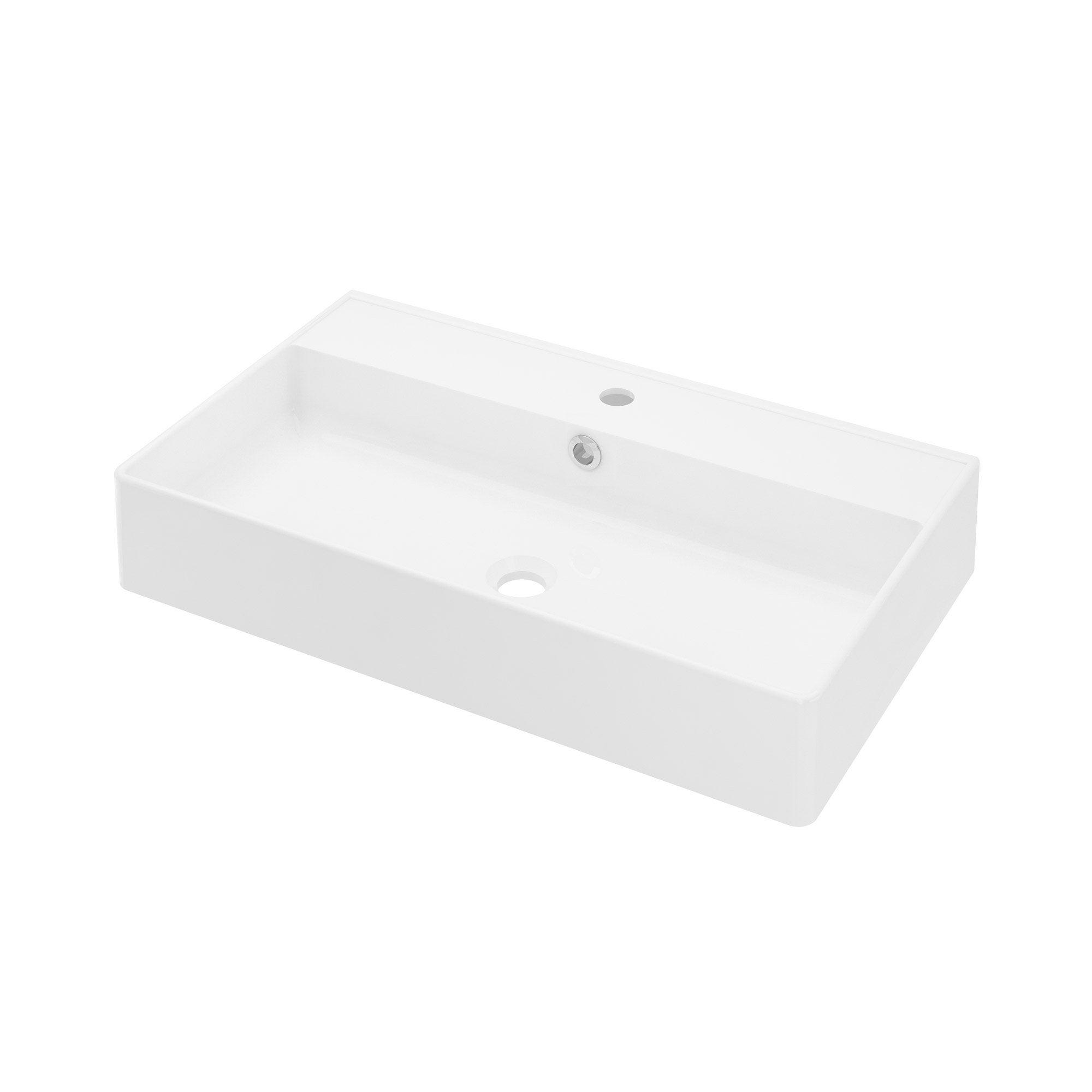 Plan vasque simple céramique l.71 x H.12 x P.41.5 cm, Easy