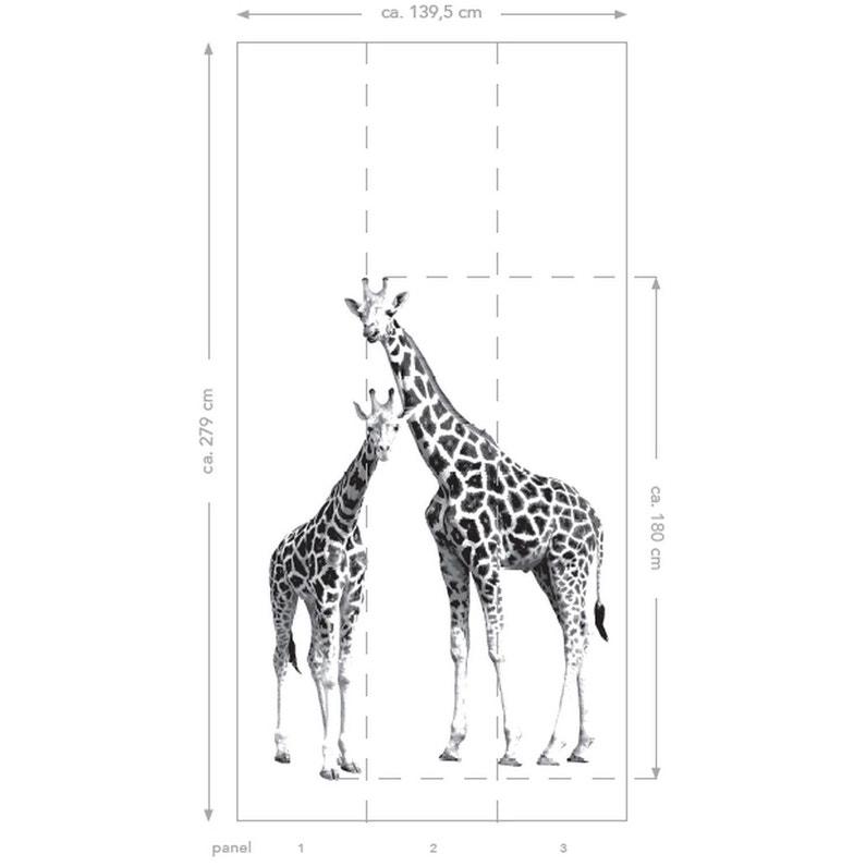 Papier Peint Xl² Girafes Noirblanc Intissé L139 X H280 Cm
