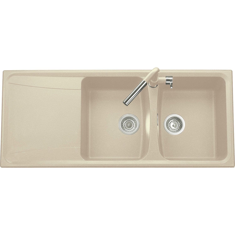 evier encastrer granit et rsine beige roxana 2 bacs avec gouttoir - Evier Resine Ou Granit
