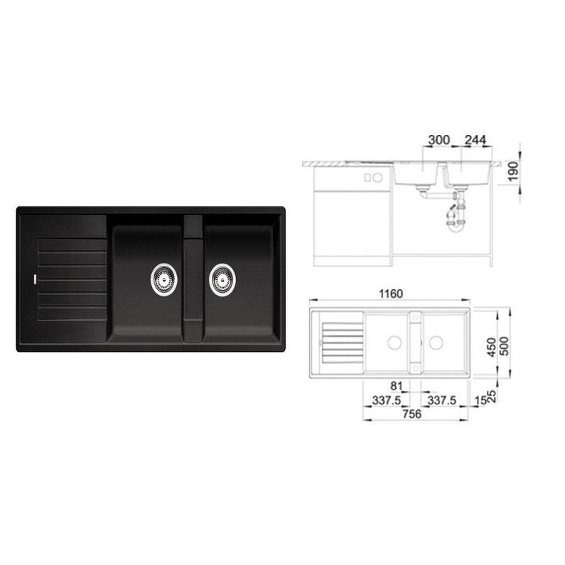 evier encastrer granit et r sine anthracite zia 2 bacs. Black Bedroom Furniture Sets. Home Design Ideas