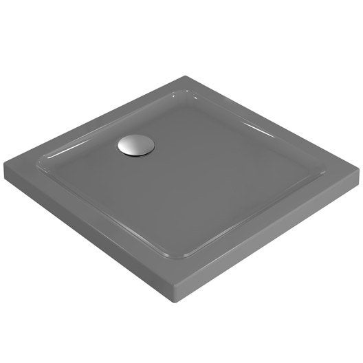 Receveur de douche carr x cm gr s gris for Receveur de douche en gres