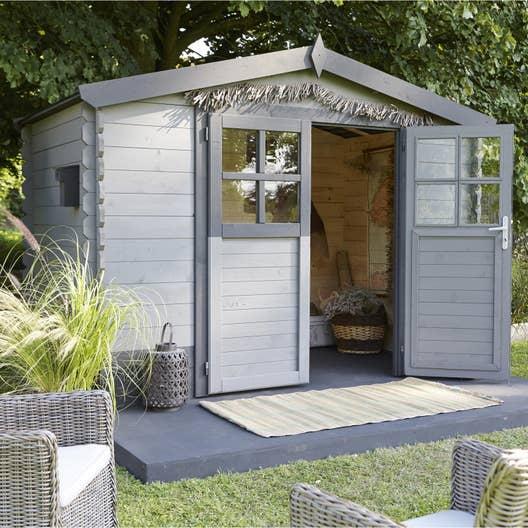 Abri de jardin bois Soleil, 4.95 m² Ep.28 mm | Leroy Merlin