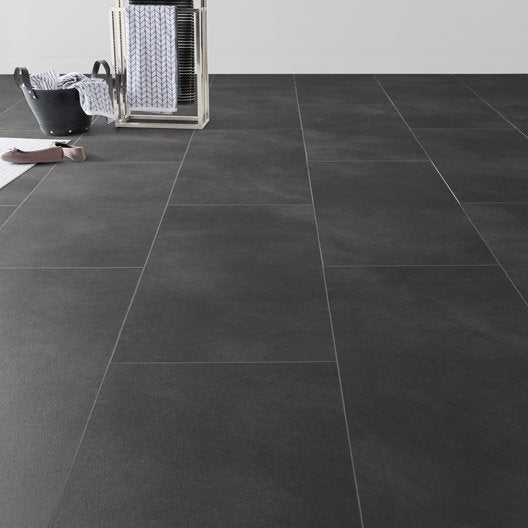 Dalle pvc clipsable anthracite effet b ton clic moods for Carrelage 90x90 gris