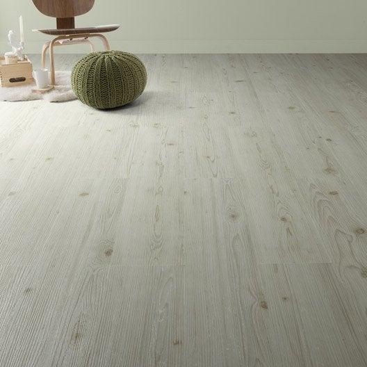 Lame pvc clipsable blanc effet bois camden artens leroy - Lame pvc clipsable sur carrelage ...