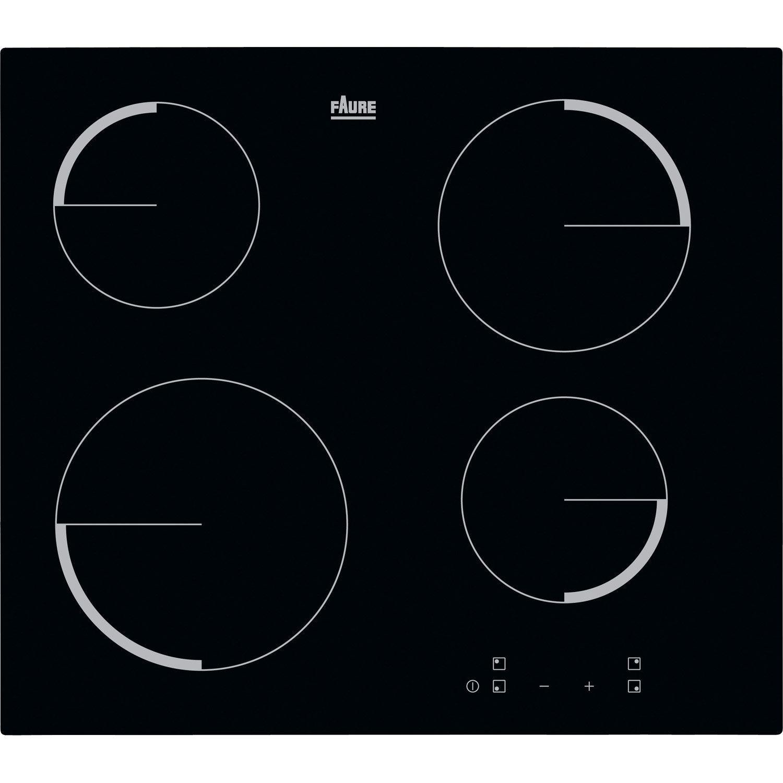 Table Induction Ou Vitrocéramique plaque vitrocéramique 4 foyers, noir, faure f6104ivk