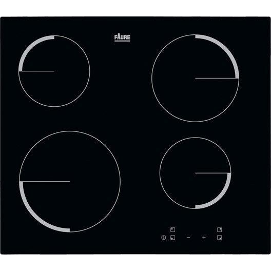 plaque vitroc ramique 4 foyers noir faure f6104ivk leroy merlin. Black Bedroom Furniture Sets. Home Design Ideas
