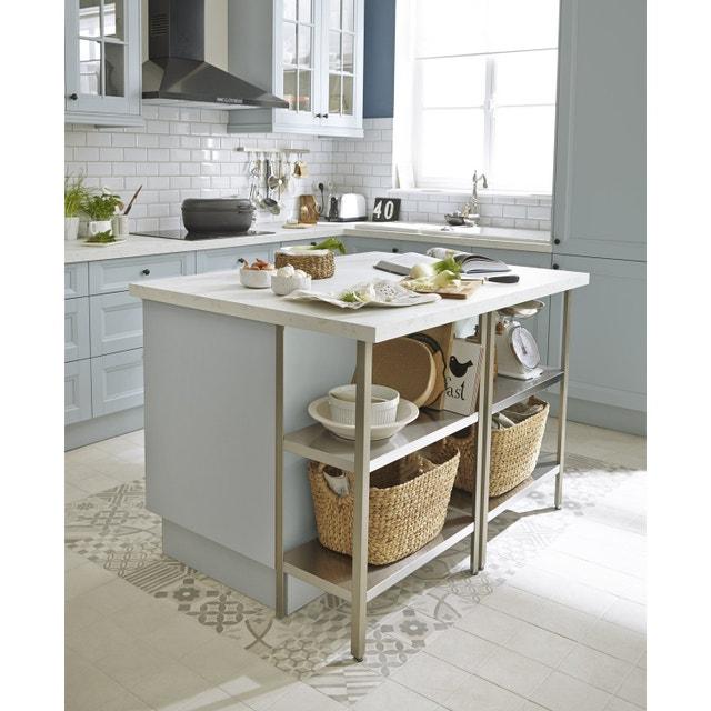 Un lot central bien int gr dans cette cuisine de style for Etagere plan de travail cuisine