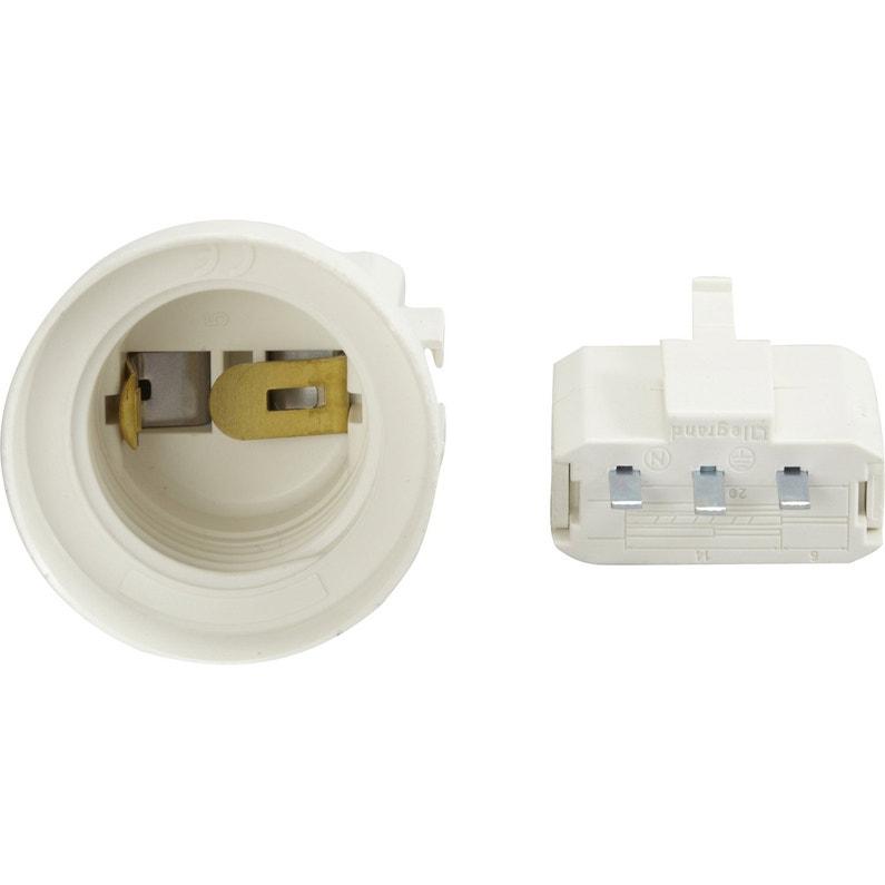 Fiche Dcl Et Douille électrique E27 à Vis Plastique Blanc Legrand