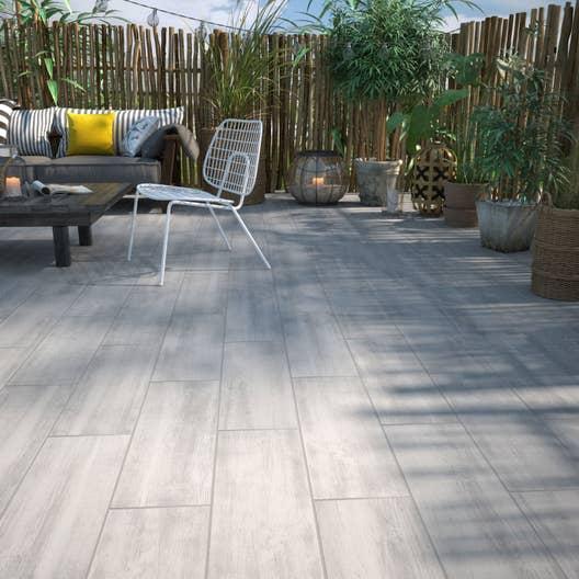 Carrelage sol et mur blanc effet bois apero x - Carrelage terrasse effet bois ...