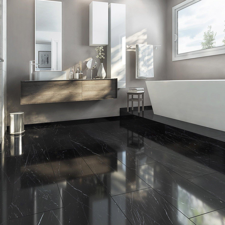 Carrelage sol et mur noir effet marbre rimini x for Carrelage sol interieur noir