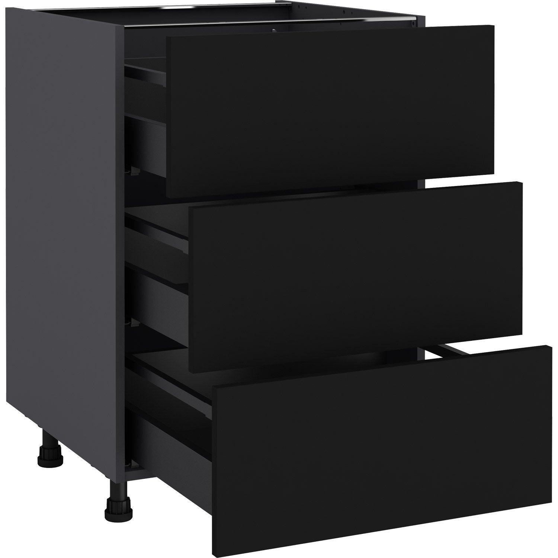 Meuble Bas De Cuisine Noir Laqué meuble bas de cuisine soho noir, 3 tiroirs h.77 l.60 cm x p.58 cm