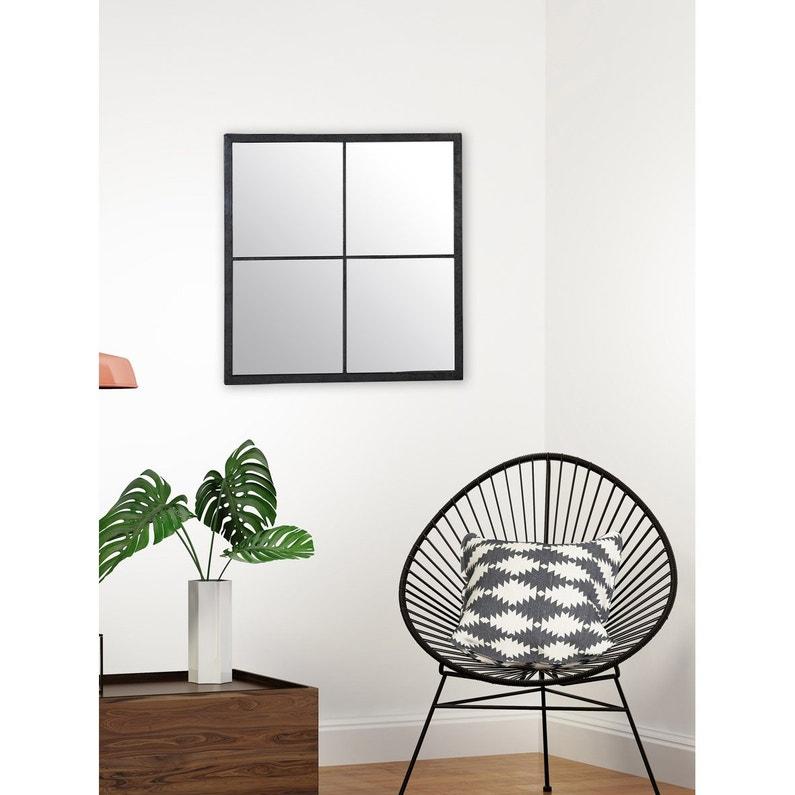 8c889cf8e8c63d Miroir carré Fenêtre marcel noir, l.80 x H.80 cm