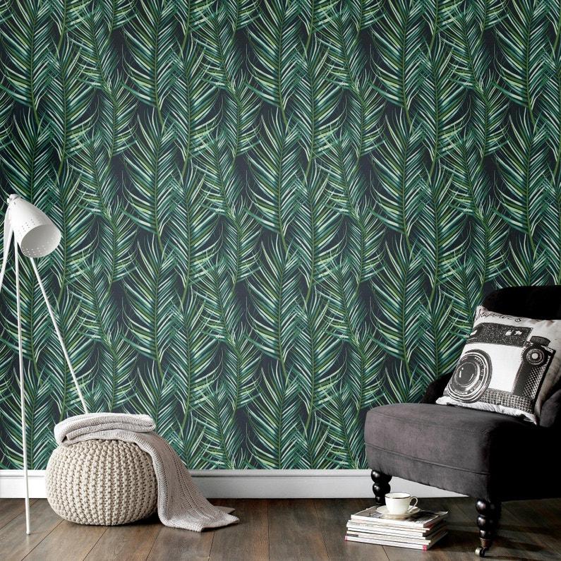 Papier Peint Vinyle Tropical Feuilles Vert